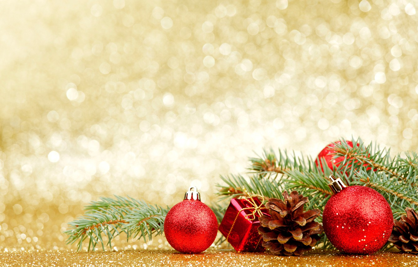 Photo wallpaper branches, glare, background, holiday, balls, toys, new year, Christmas, red, needles, bumps, bokeh, box