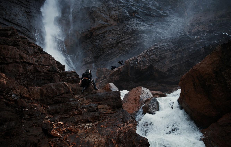 Photo wallpaper girl, birds, stones, waterfall