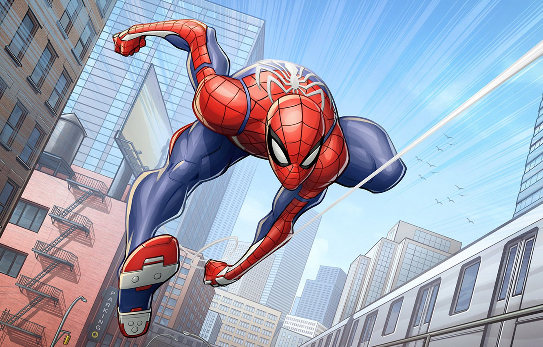 Photo wallpaper marvel comics, Spider-Man, Patrick Brown, PatrickBrown, ps4, Insomniac Games