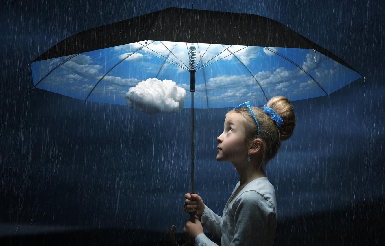 Photo wallpaper Umbrella, situation, girlie