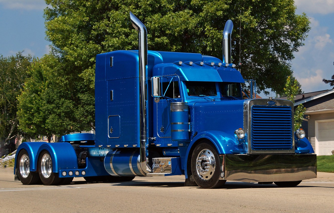 Photo wallpaper Blue, Street, Truck, Peterbilt