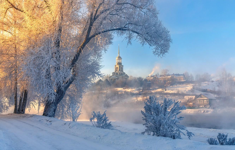 Photo wallpaper frost, river, dawn, Tver oblast, Torzhok, Tvertsa