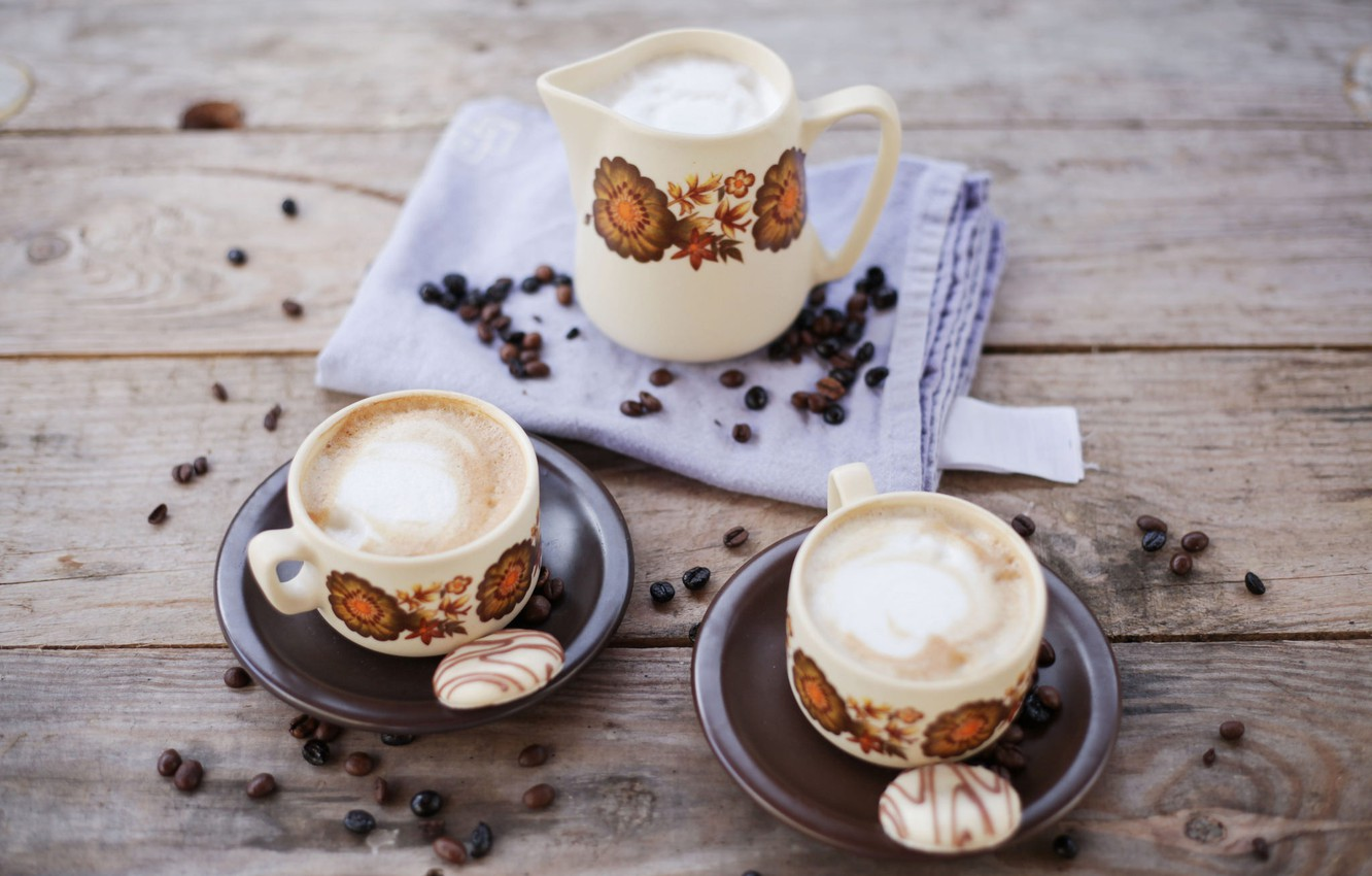 Photo wallpaper coffee, cookies, dishes, foam