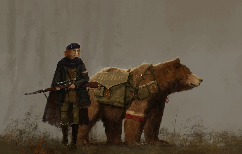 Photo wallpaper gun, game, bear, weapon, woman, cross, uniform, seifuku, Scythe