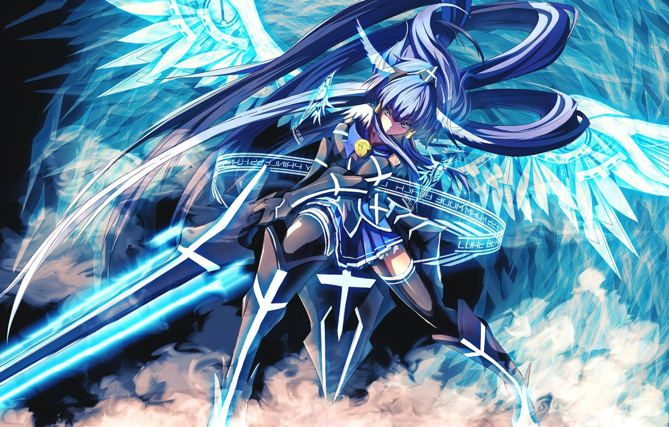 Wallpaper Girl Sword Armor Blue Anime Wings Beautiful Ken Angel Blade Asian Warrior Japanese Asiatic Powerful Strong Images For Desktop Section Prochee Download