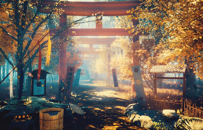 Photo wallpaper autumn, flowers, nature, torii