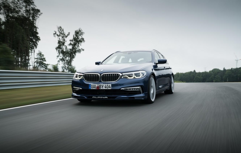 Photo wallpaper asphalt, movement, overcast, BMW, 4x4, universal, Alpina, 4WD, Combi, dark blue, 2017, G31, V8 Biturbo, …