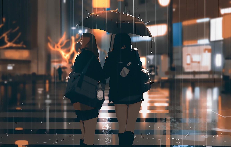 Photo wallpaper rain, street, the evening, Japan, lights, bag, Schoolgirls, wet asphalt, keychain, friend, crosswalk, from the …