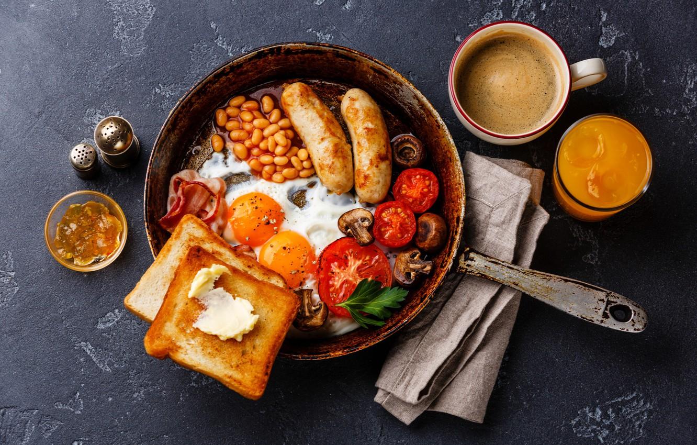Photo wallpaper sausage, scrambled eggs, tomato, bacon, pan, toast, beans