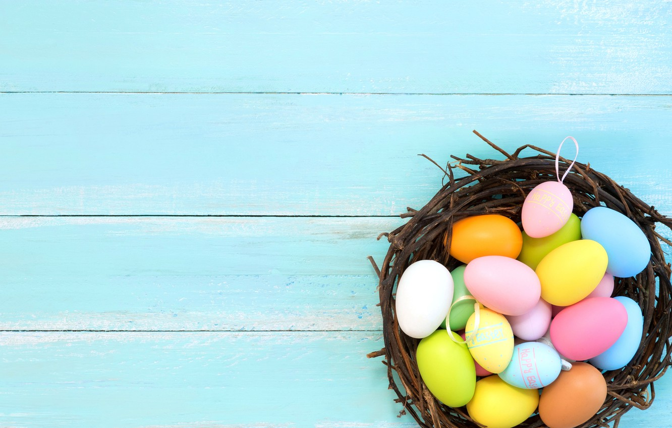 Photo wallpaper basket, eggs, spring, colorful, Easter, spring, Easter, eggs, decoration, Happy, tender