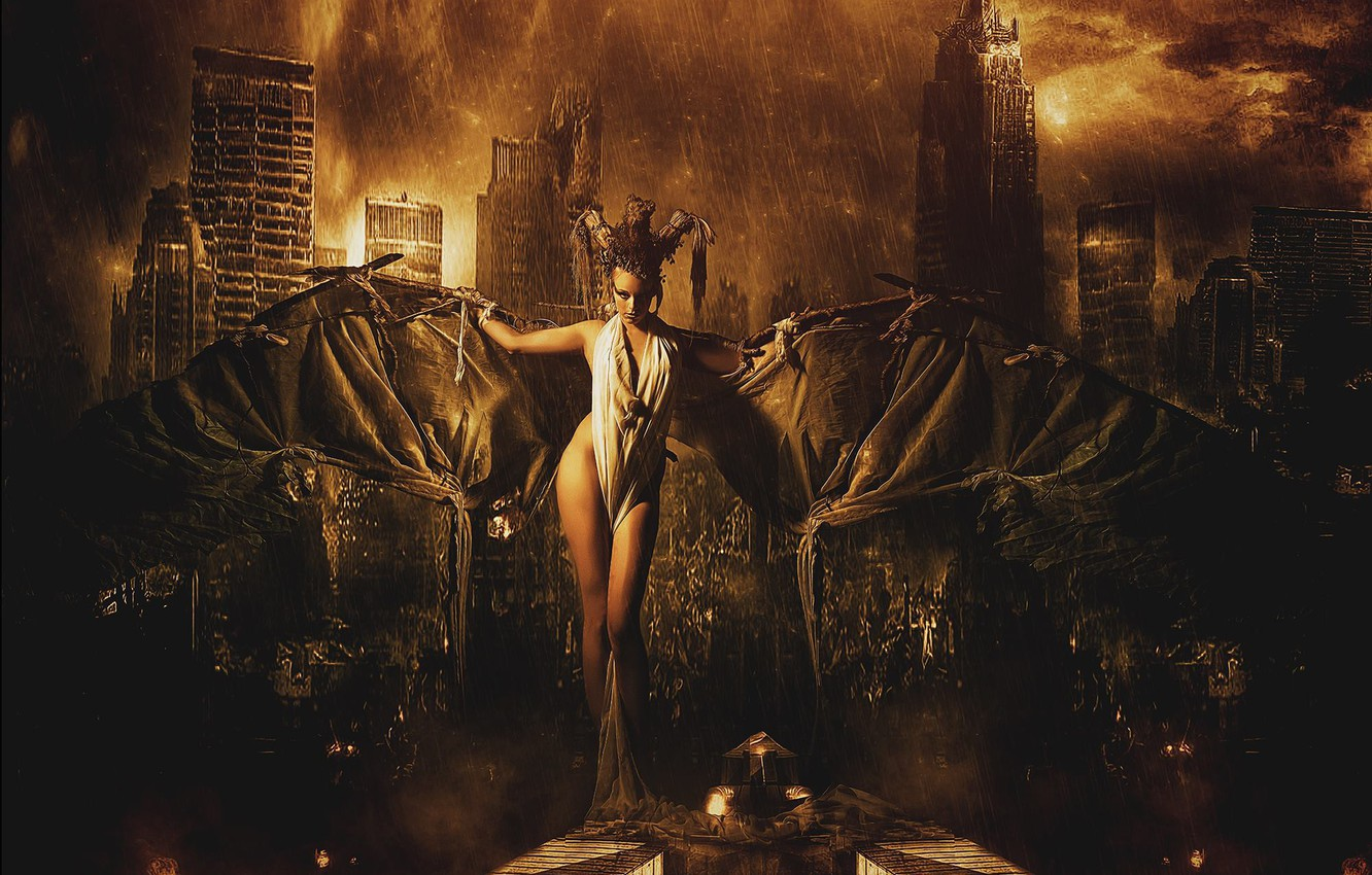 Photo wallpaper girl, the city, fantasy, rain, wings, the situation, GOTHAM CITY 2060 A. D.