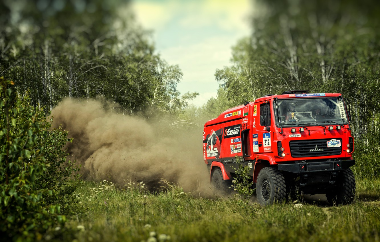 Photo wallpaper Red, Dust, Forest, Sport, Truck, Race, Rally, Rally, The roads, 312, MAZ, Silk road, Silk …