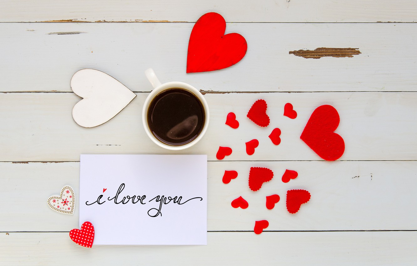 Photo wallpaper love, heart, coffee, Cup, hearts, red, love, I love you, heart, wood, romantic, coffee cup