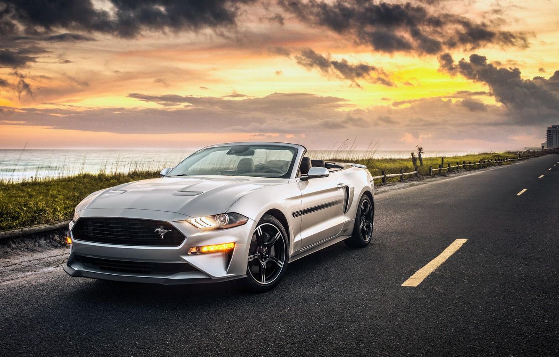 Photo wallpaper sunset, Ford, California, Convertible, Mustang GT, 2019