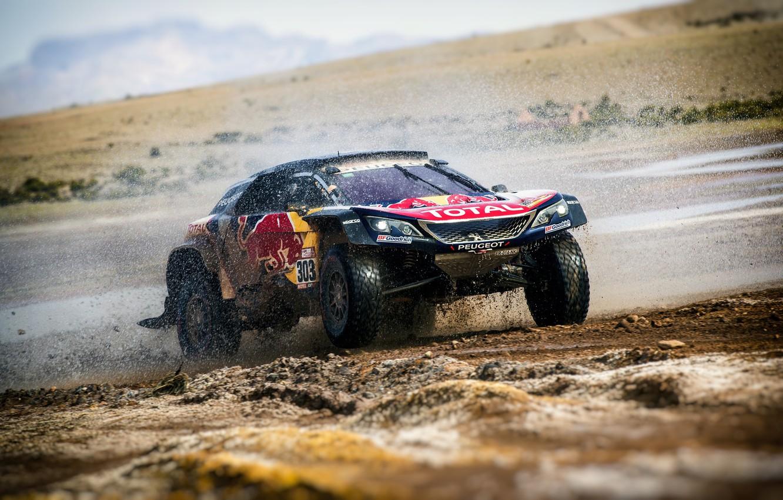 Photo wallpaper Auto, Sport, Machine, Speed, Race, Peugeot, Squirt, Lights, Red Bull, Rally, Dakar, Dakar, SUV, Rally, …