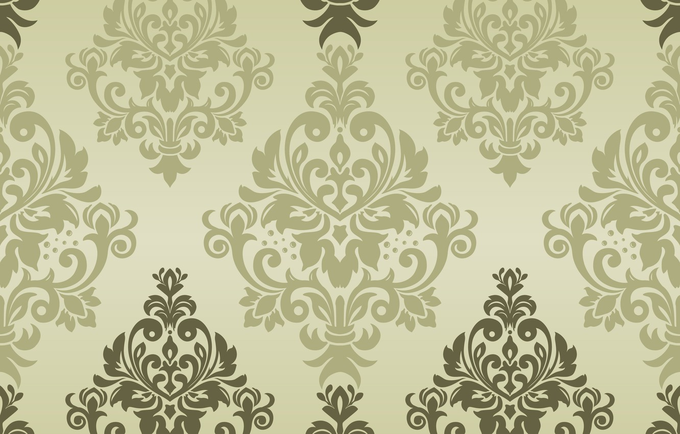 Photo wallpaper green, vector, texture, ornament, background, pattern, classic, seamless, damask