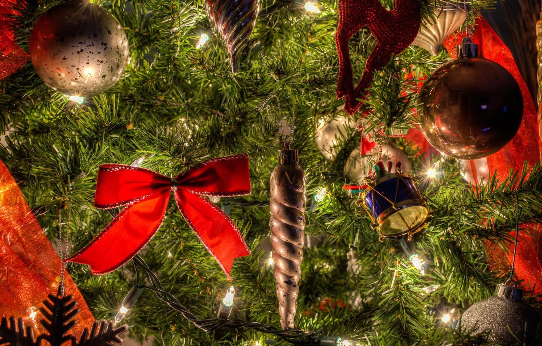 Photo wallpaper balls, holiday, balls, toys, new year, tree, bow, light bulb