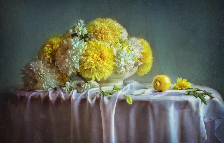 Photo wallpaper flowers, lemon, picture, chrysanthemum