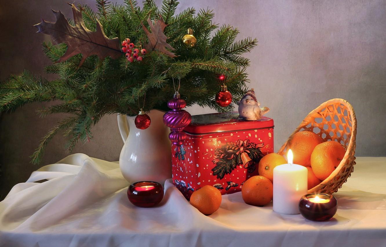 Photo wallpaper winter, decoration, holiday, tree, new year, Christmas, bird, still life, December, composition, tangerines