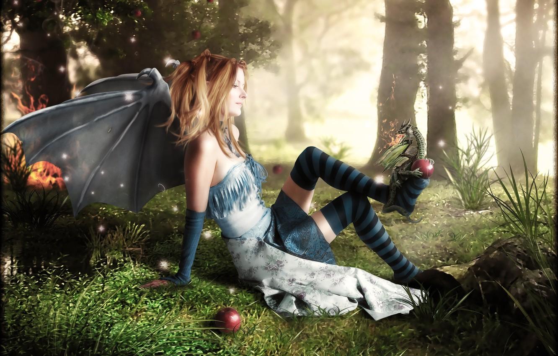 Photo wallpaper forest, grass, girl, fire, dragon, apples, knee, Digital Art, brandrificus, bat wings, mischief managed
