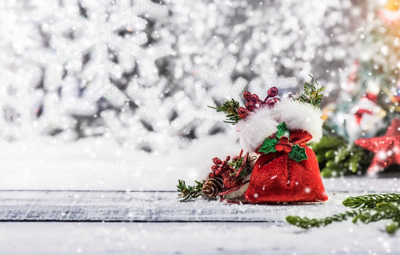 Photo wallpaper winter, snow, decoration, snowflakes, tree, New Year, Christmas, happy, Christmas, wood, winter, snow, New Year, …