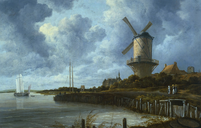 Photo wallpaper landscape, oil, picture, canvas, Jacob van Ruisdael, Mill at Wijk-Bay-Duurstede