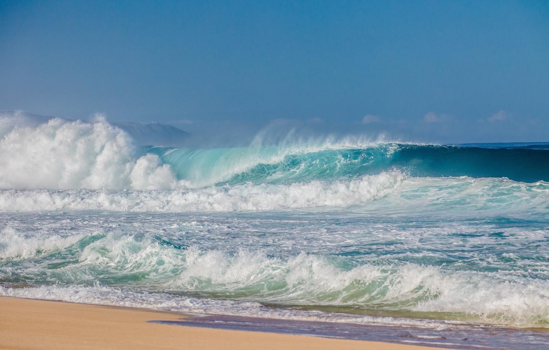 Photo wallpaper sea, wave, beach, shore, beach, sea, ocean, seascape, sand, wave