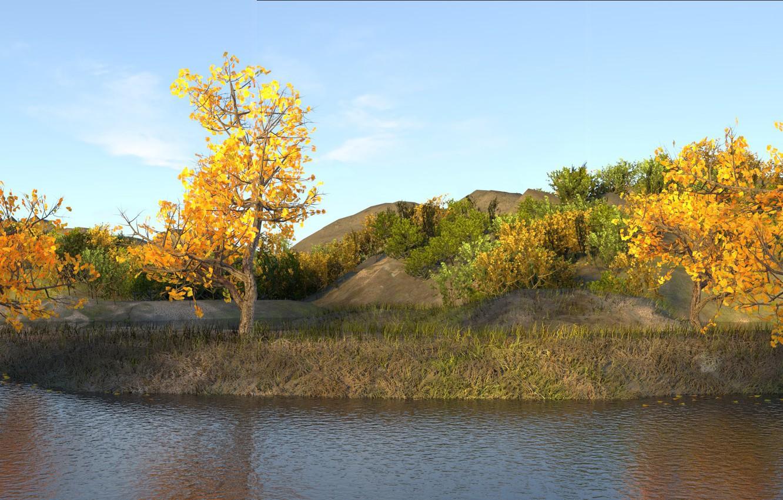 Photo wallpaper autumn, grass, trees, yellow, Pond, brown