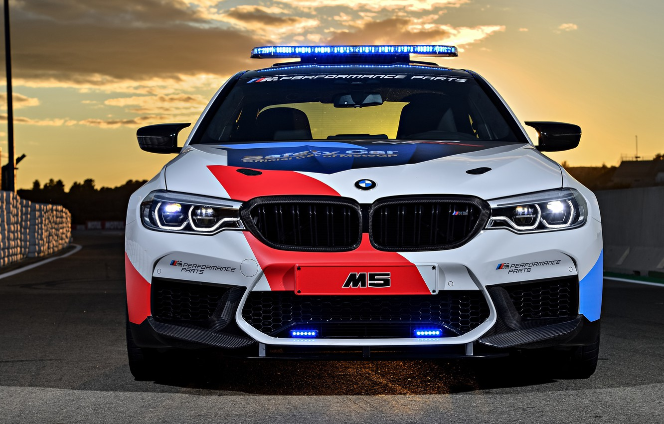 Photo wallpaper front view, MotoGP, 2018, flashers, Safety Car, BMW M5