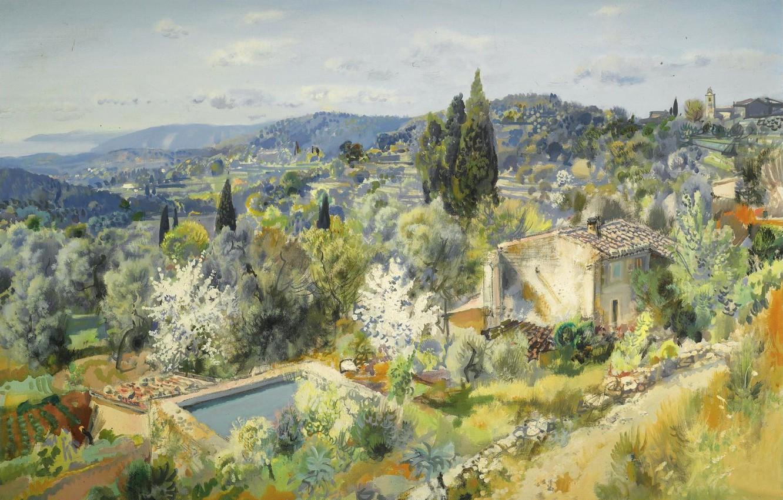Photo wallpaper landscape, picture, France, Gabriel Deschamps, Gabriel Deschamps, Panorama Of The Village Of Eze