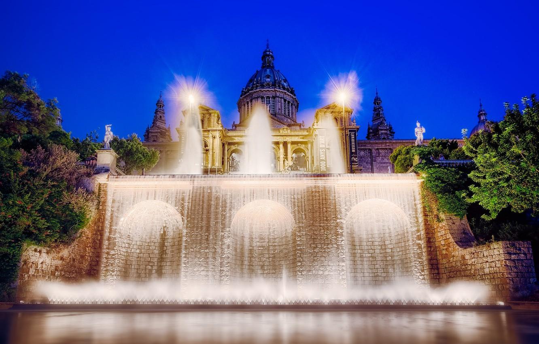 Photo wallpaper backlight, fountain, Spain, Palace, Barcelona