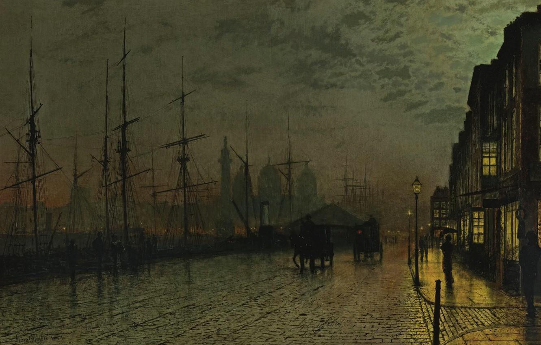 Wallpaper Home Ships Picture Promenade John Atkinson Grimshaw