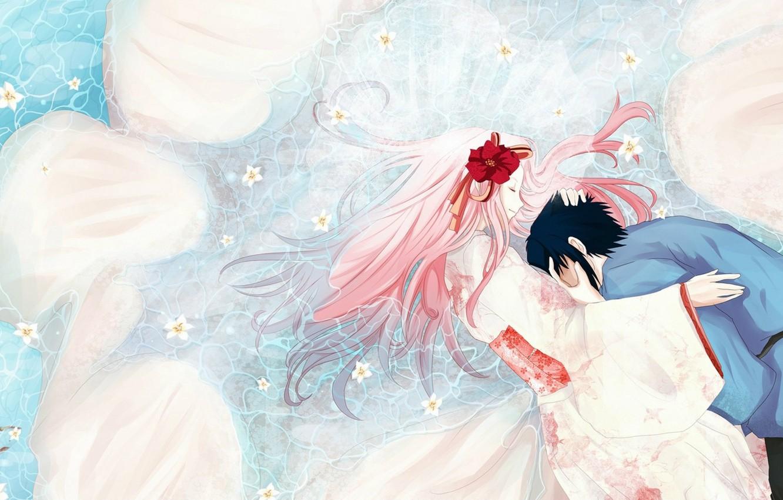 Photo wallpaper hugs, kimono, in the water, pink hair, closed eyes, Sasuke Uchiha, Sakura Haruno, Naruto Shippuden, …