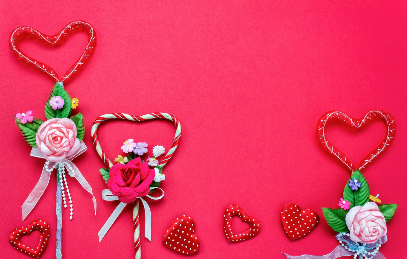 Photo wallpaper Love, Flowers, Hearts, Holiday, Valentine's day