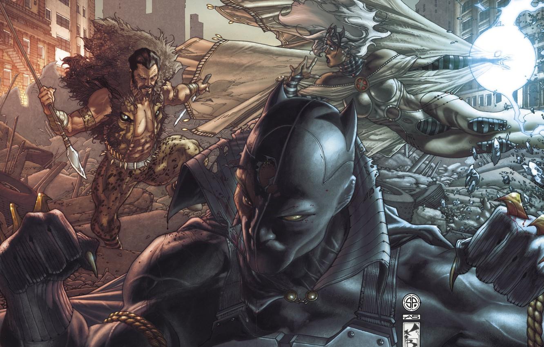 Photo wallpaper storm, art, hunting, battle, art, Black Panther, black Panther, Sergei Kraven