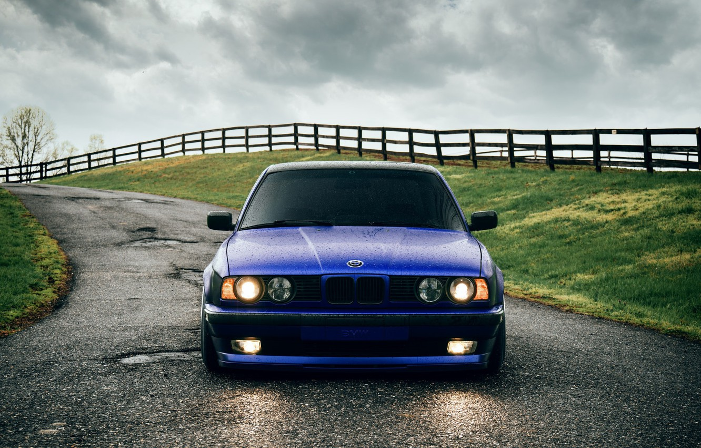 Photo wallpaper BMW, Classic, Blue, Front, E34, 540i, Hella, Sight