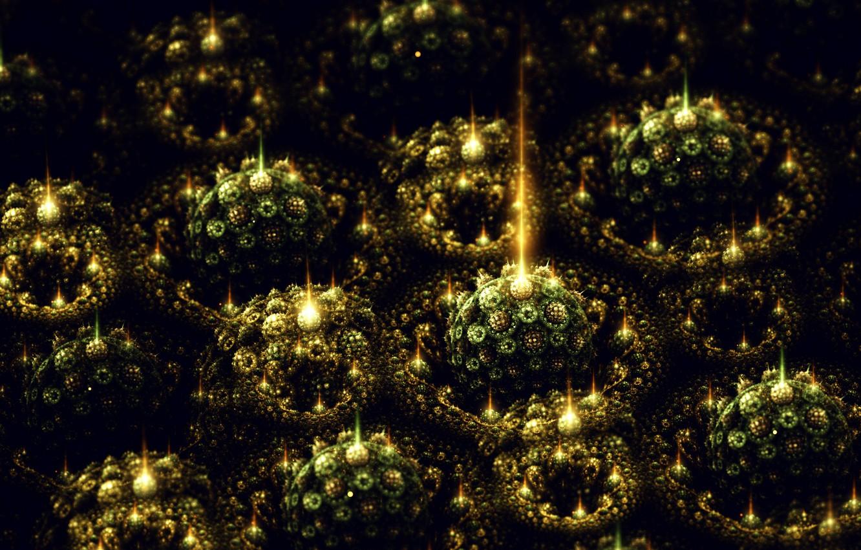 Photo wallpaper Souvenirs, Fractal art Sylvia Cordedda, green balls