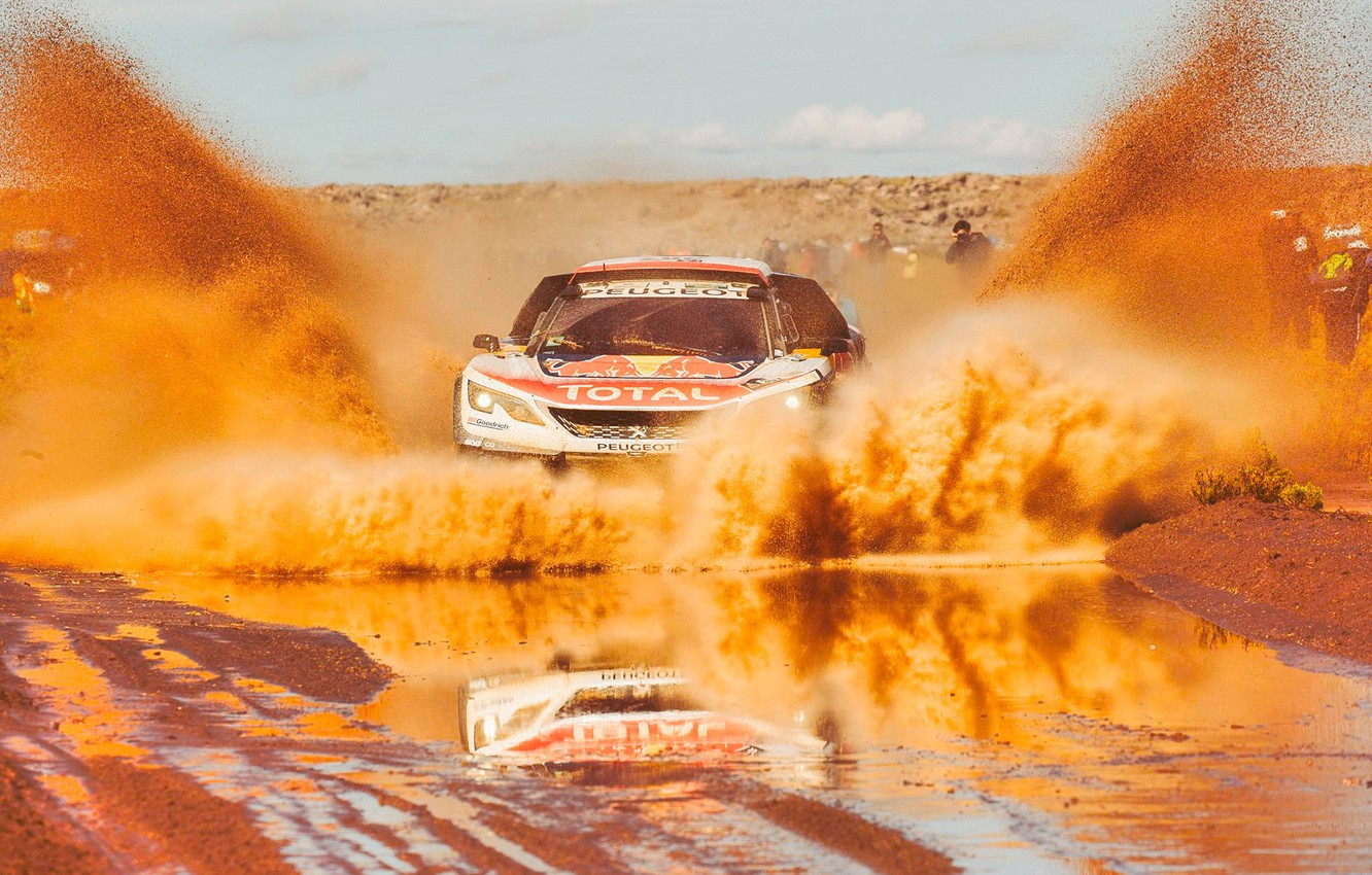 Photo wallpaper Sand, Sport, Speed, Race, Dirt, Puddle, Peugeot, Squirt, Lights, Red Bull, Rally, Rally, Sport, The …