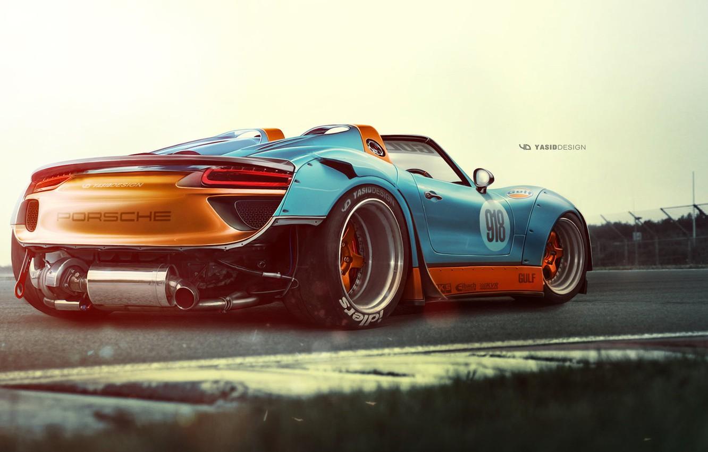Photo wallpaper Auto, Figure, Porsche, Machine, Background, Car, Car, Art, Art, Spyder, 918, Rendering, Porsche 918, Porsche …