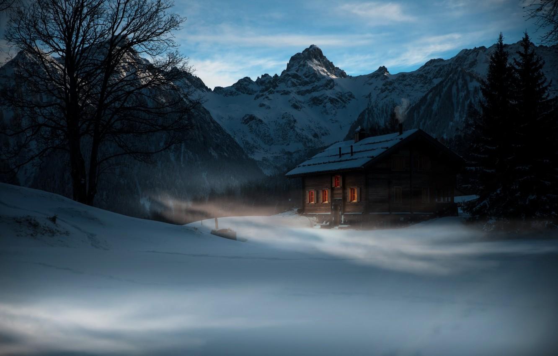 Photo wallpaper winter, mountains, house