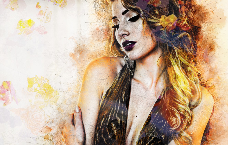 Photo wallpaper girl, mood, hair, dress, art