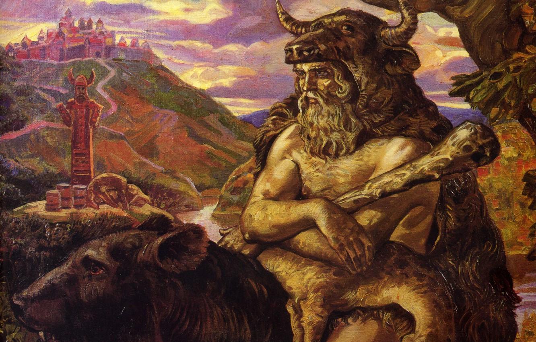 Photo wallpaper bear, bull, paganism, Veles, Klimenko Andrew