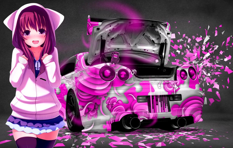 Photo wallpaper Girl, Auto, Machine, Nissan, Pink, Anime, Stockings, Skirt, Car, Nissan Skyline GT-R R34 (BNR34), Chan, …
