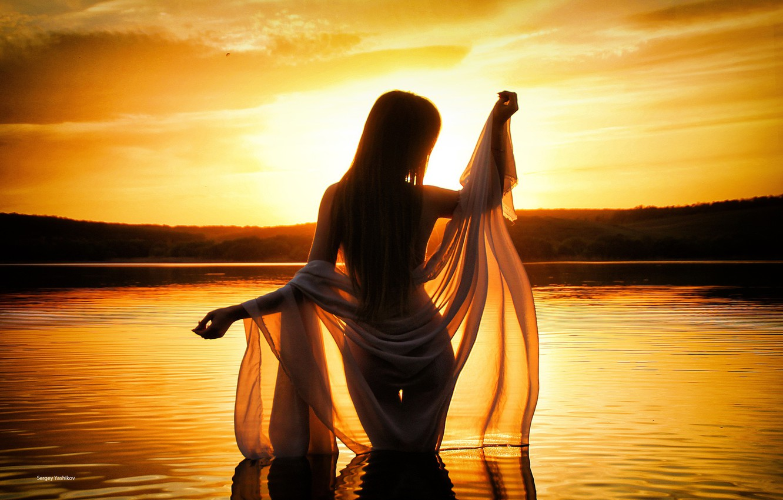 Photo wallpaper girl, sunset, pose, lake, mood, figure, silhouette, shawl, Sergey Boxes