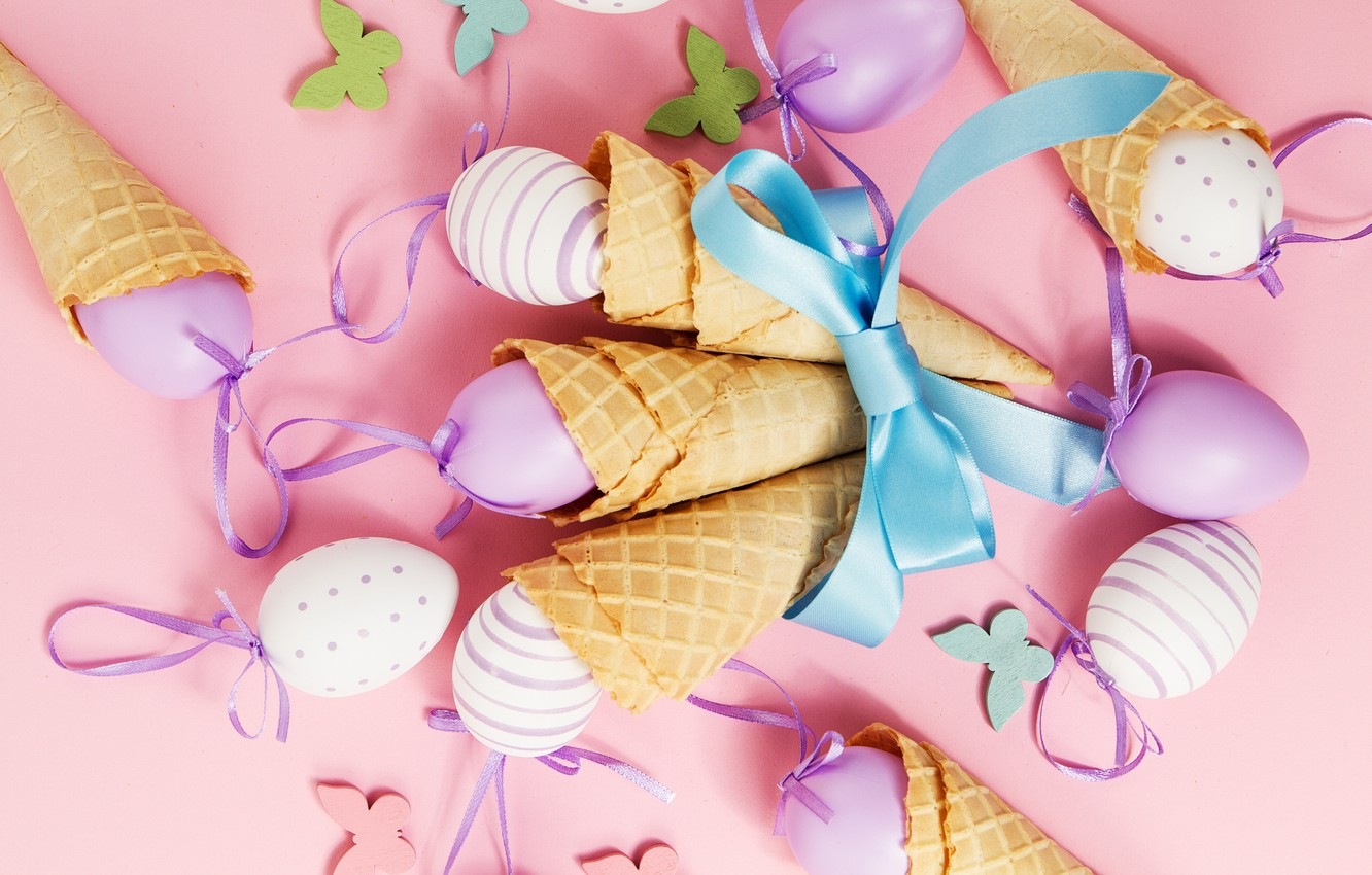 Photo wallpaper butterfly, background, pink, eggs, spring, Easter, horn, pink, spring, Easter, eggs, decoration, Happy, waffle