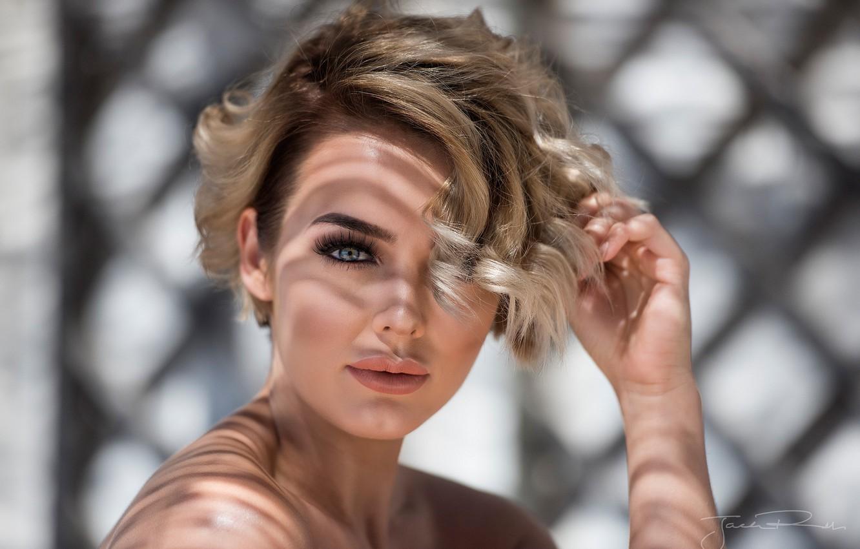 Photo wallpaper model, portrait, makeup, hairstyle, blonde, beautiful, bokeh, Rosie Robinson, Jack Russell