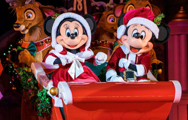 Wallpaper Christmas New Year Sleigh Deer Disney World Mickey