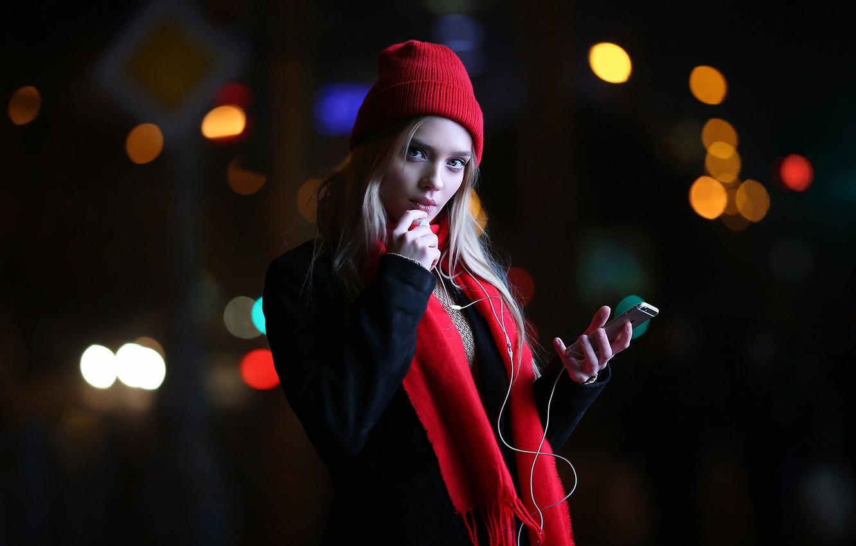 Photo wallpaper lights, iPhone, girl, Model, long hair, photo, blue eyes, lips, face, coat, blonde, scarf, smartphone, …