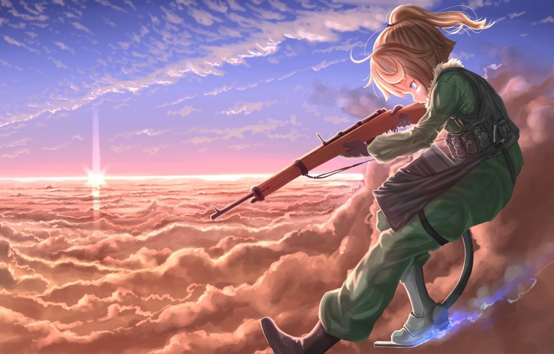Photo wallpaper girl, gun, soldier, military, weapon, war, eyes, anime, blonde, asian, manga, oriental, asiatic, powerful, strong, …