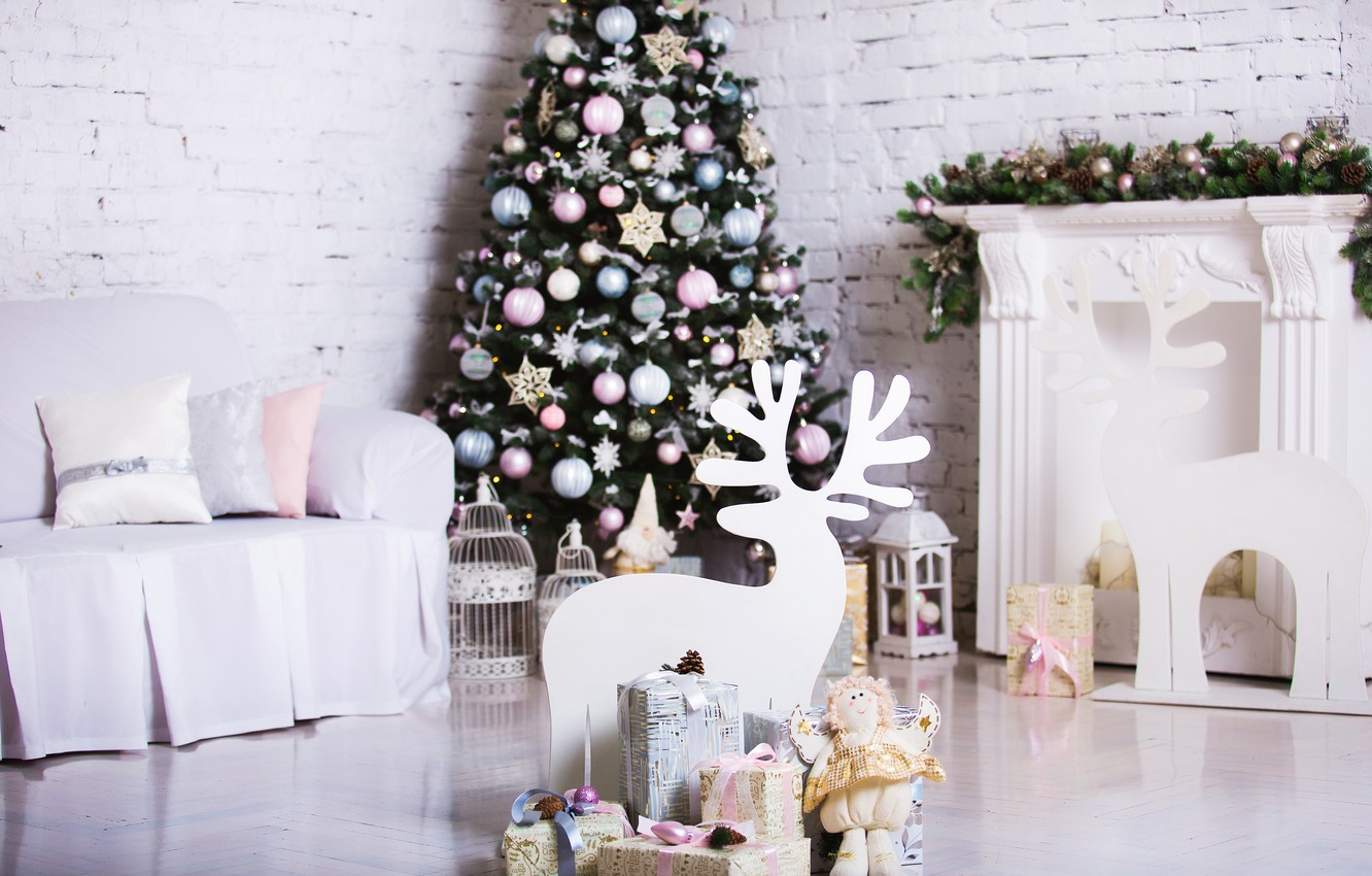 Wallpaper Decoration Room Toys Tree New Year Christmas Gifts White Christmas Design Wood Merry Christmas Xmas Interior Home Decoration Images For Desktop Section Novyj God Download